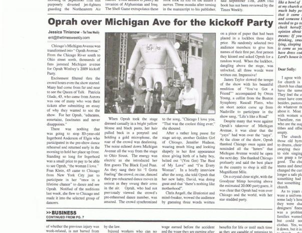 Times Weekly Oprah On Michigan Ave 1